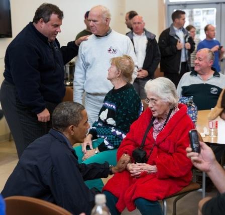 Obama and Christie visit NJ Storm Victims