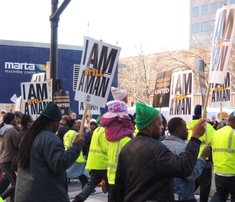 Sanitation workers marching in Atlanta's MLK Day parade, January 20, 2014 (PBG)