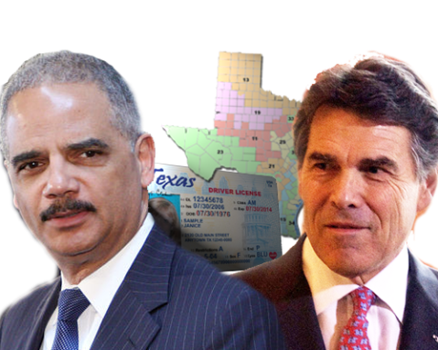 U.S. Attorney General Eric Holder (adapted from British Foreign and Commonwealth Office Flickr photo) and Texas Gov. Rick Perry (adapted from photo by Jonathan Mallard)